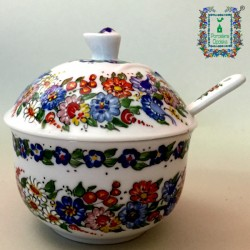 Cukiernica z łyżeczką porcelanową