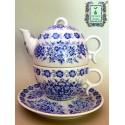 Porcelanowy niebieski komplet do herbaty